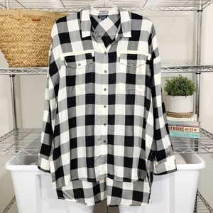SPLENDID x Anthropologie | oversized plaid blouse
